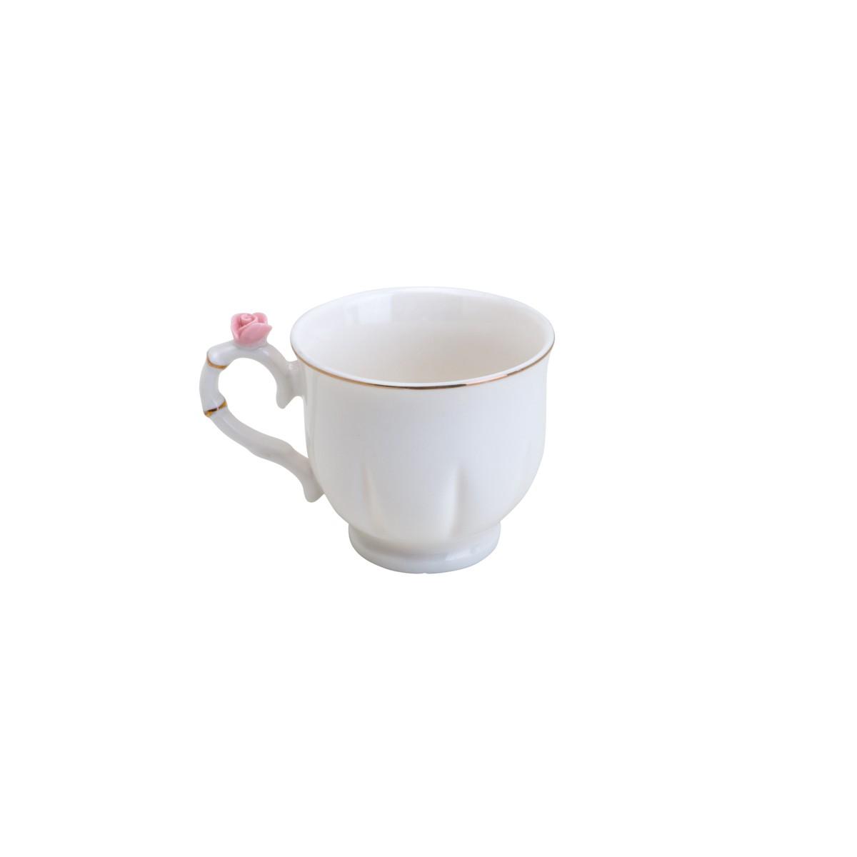 Jogo 6 xícaras 100ml para café de porcelana colorida com pires redondo Flower Wolff - 35472