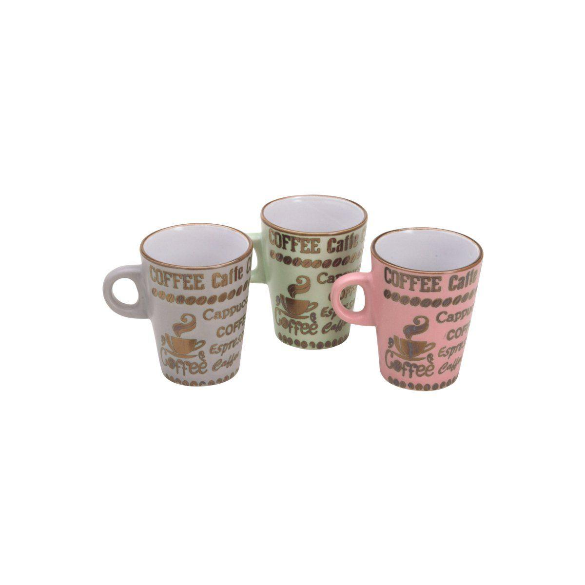 Jogo 6 xícaras 120ml para café de porcelana colorido Parisien Bon Gourmet - 26497