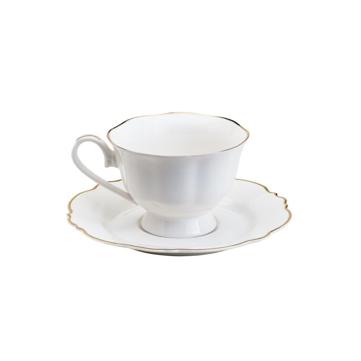 Jogo 6 Xícaras 180ml para chá de porcelana fio dourado com pires New Bone Wolff - 35368