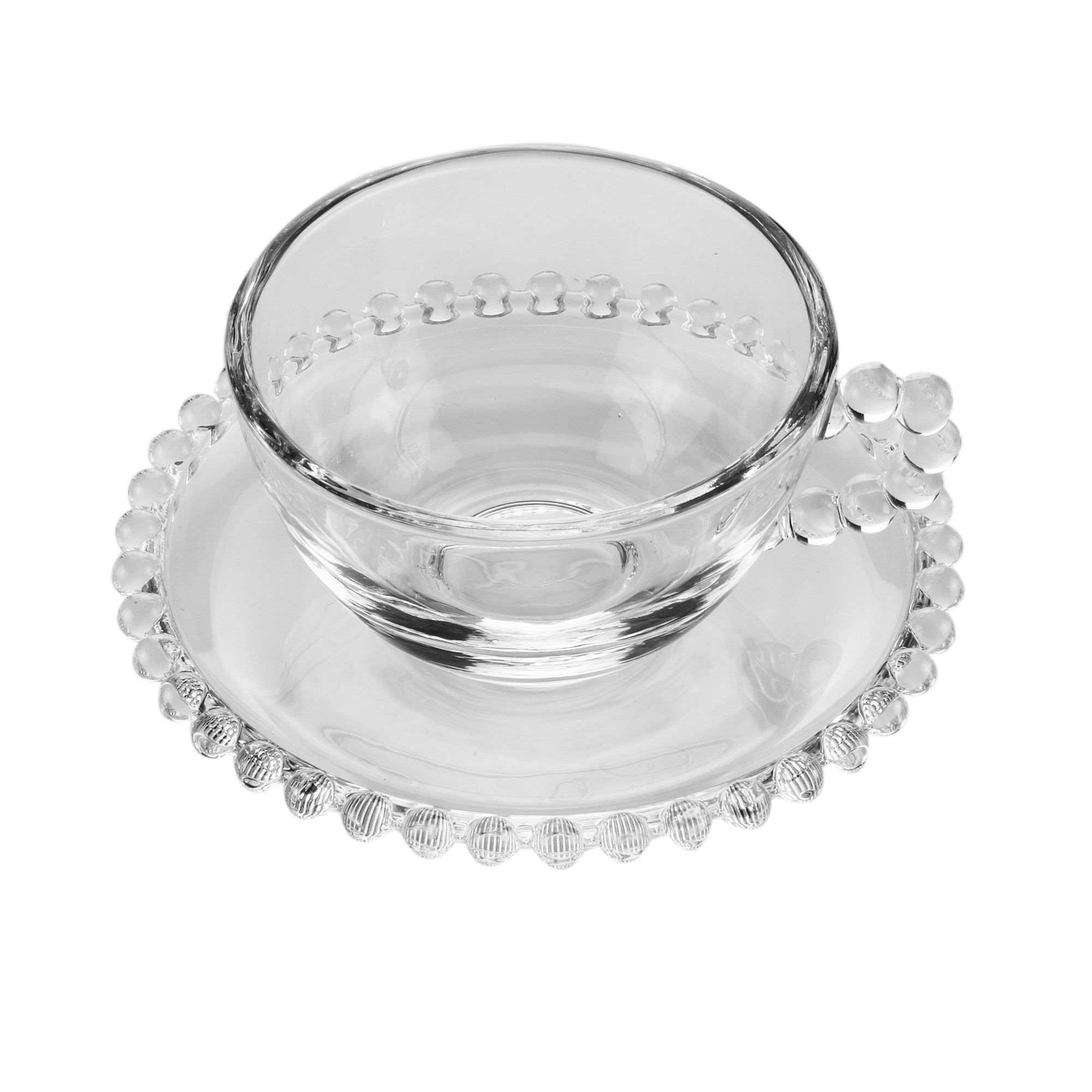 Jogo 4  xícaras 200ml para chá de cristal transparente com pires Pearl Wolff - 27900
