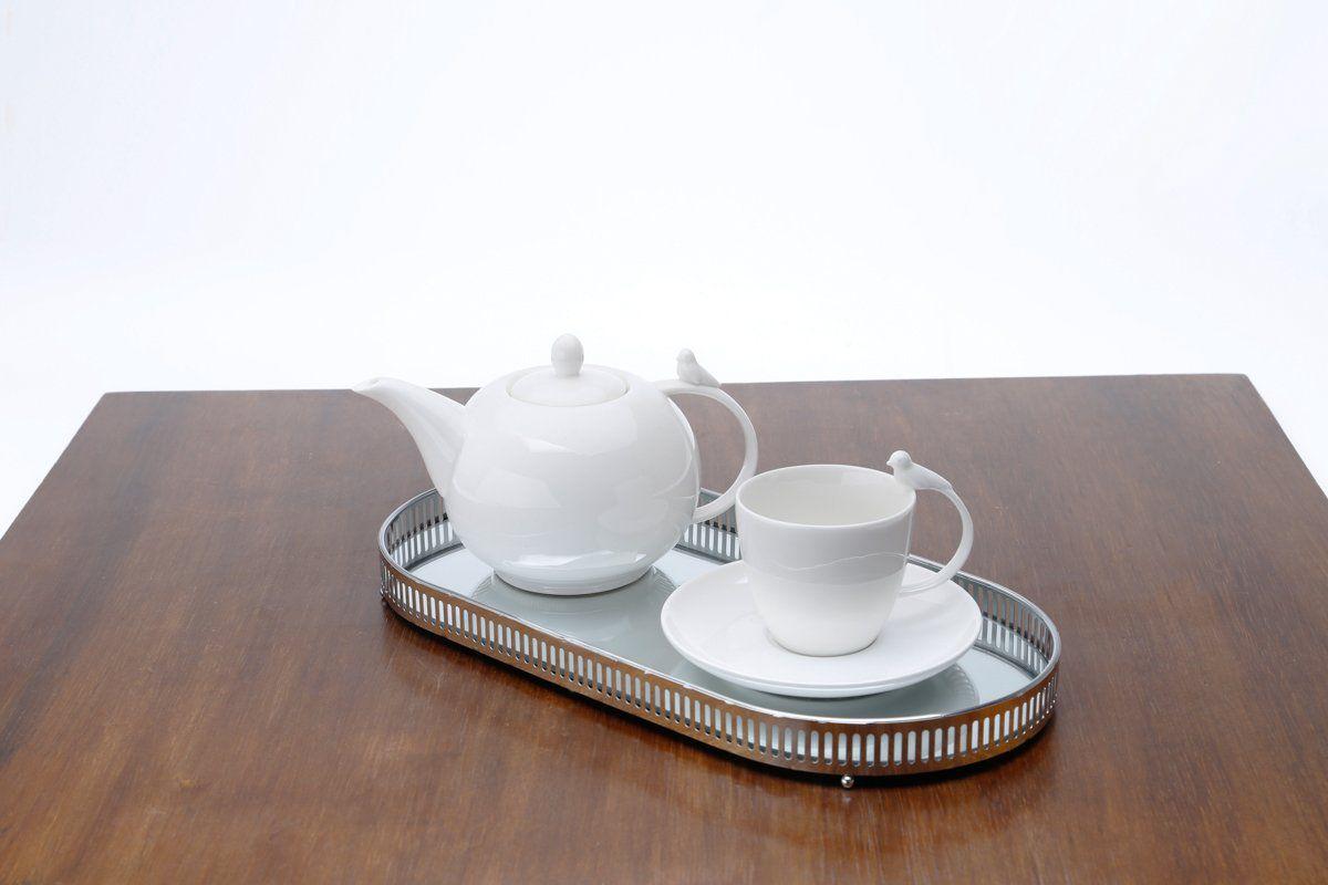 Jogo 6 xícaras 200ml para chá de porcelana branca com pires Birds Wolff - 17237