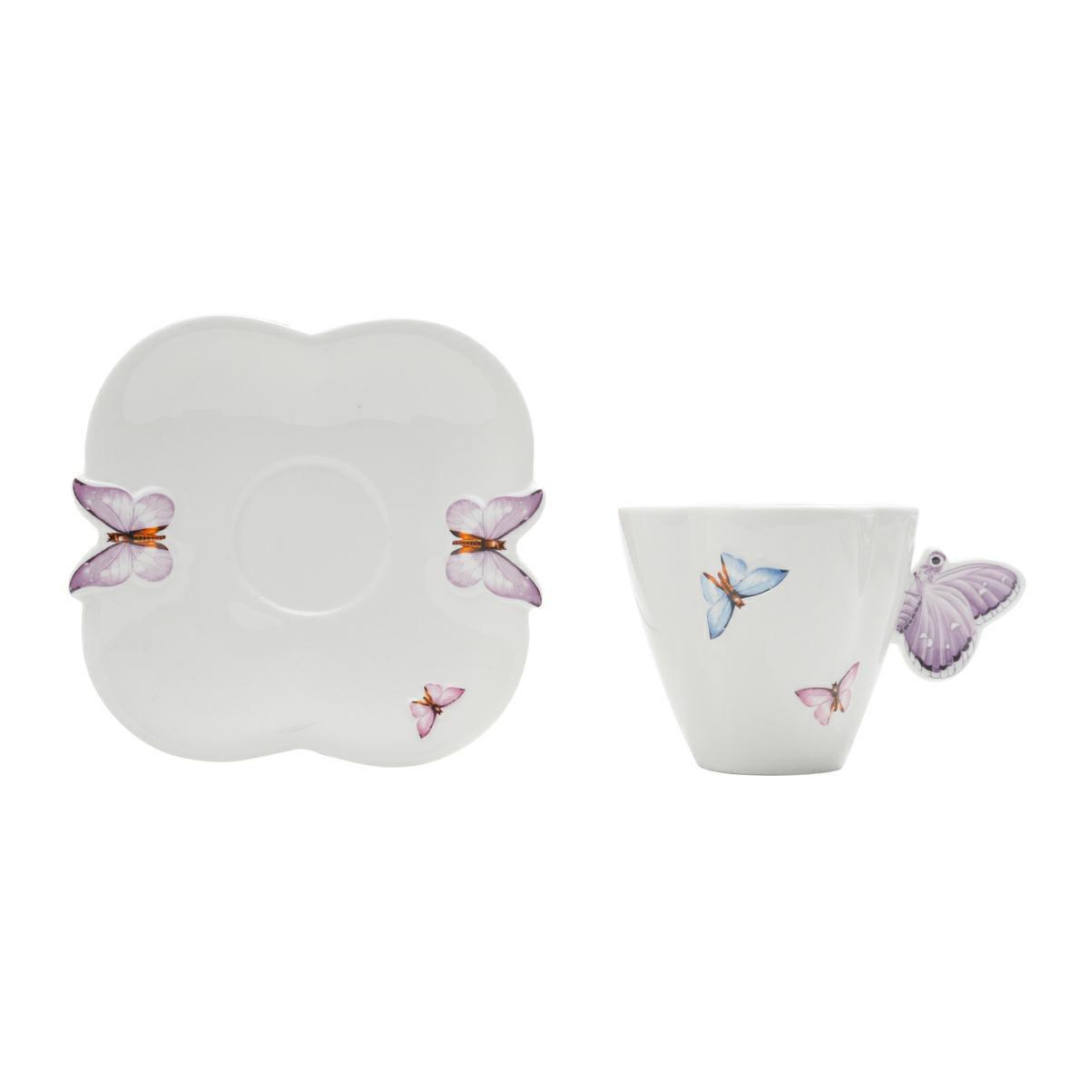 Jogo 6 xícaras 200ml para chá de porcelana com pires Borboletas Wolff - 1155