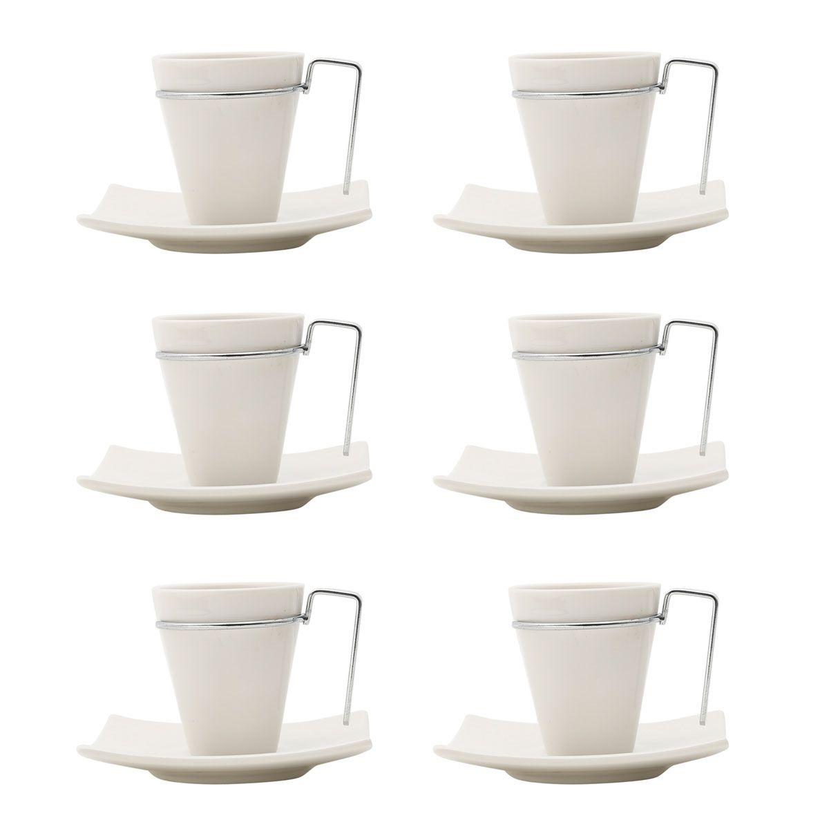 Jogo 6 xícaras 80ml para café de porcelana branca e alça de aço inox com pires Spril Wolff - 17069