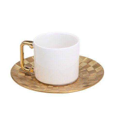 Jogo 6 xícaras 80ml para café de porcelana branca e dourada com pires Vera Wolff - 17451