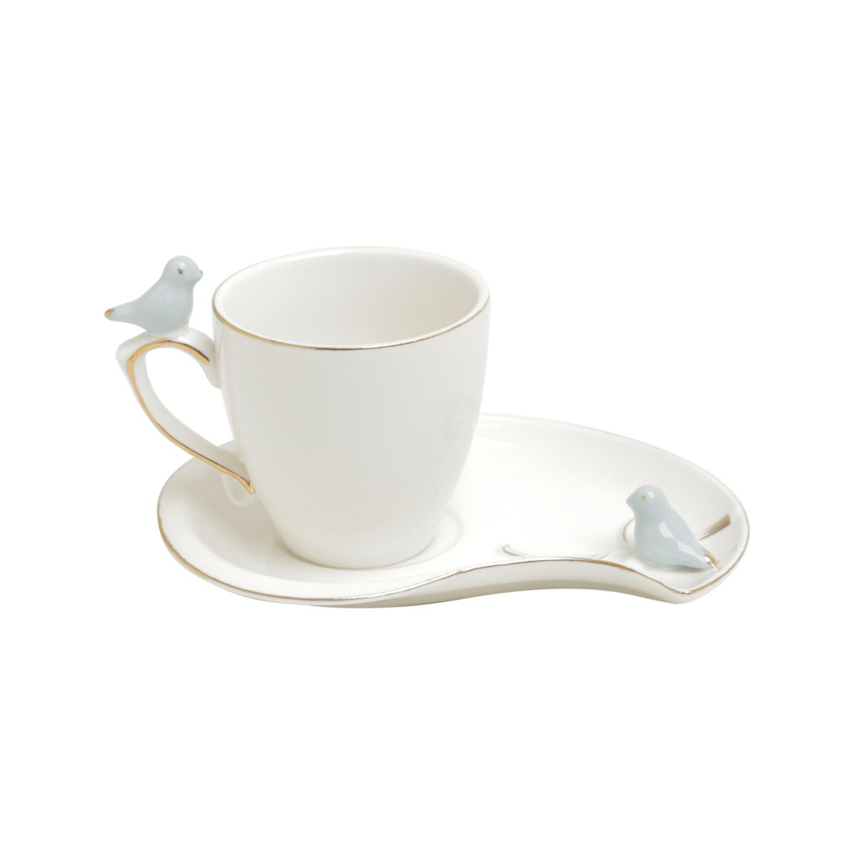 Jogo 6 xícaras 90ml para café de porcelana colorida com pires design Cute Birds Wolff - 35467