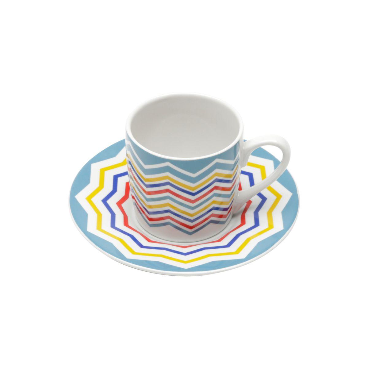 Jogo 6 xícaras 90ml para café de porcelana com pires Abstract Bon Gourmet - 17333