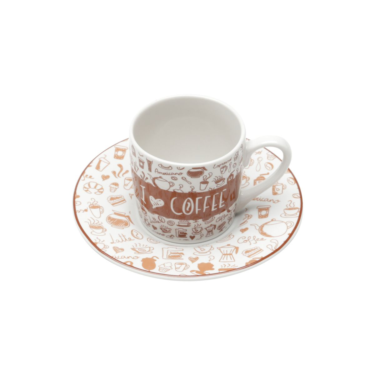 Jogo 6 xícaras 90ml para café de porcelana com pires Coffee Lovers Bon Gourmet - 17340