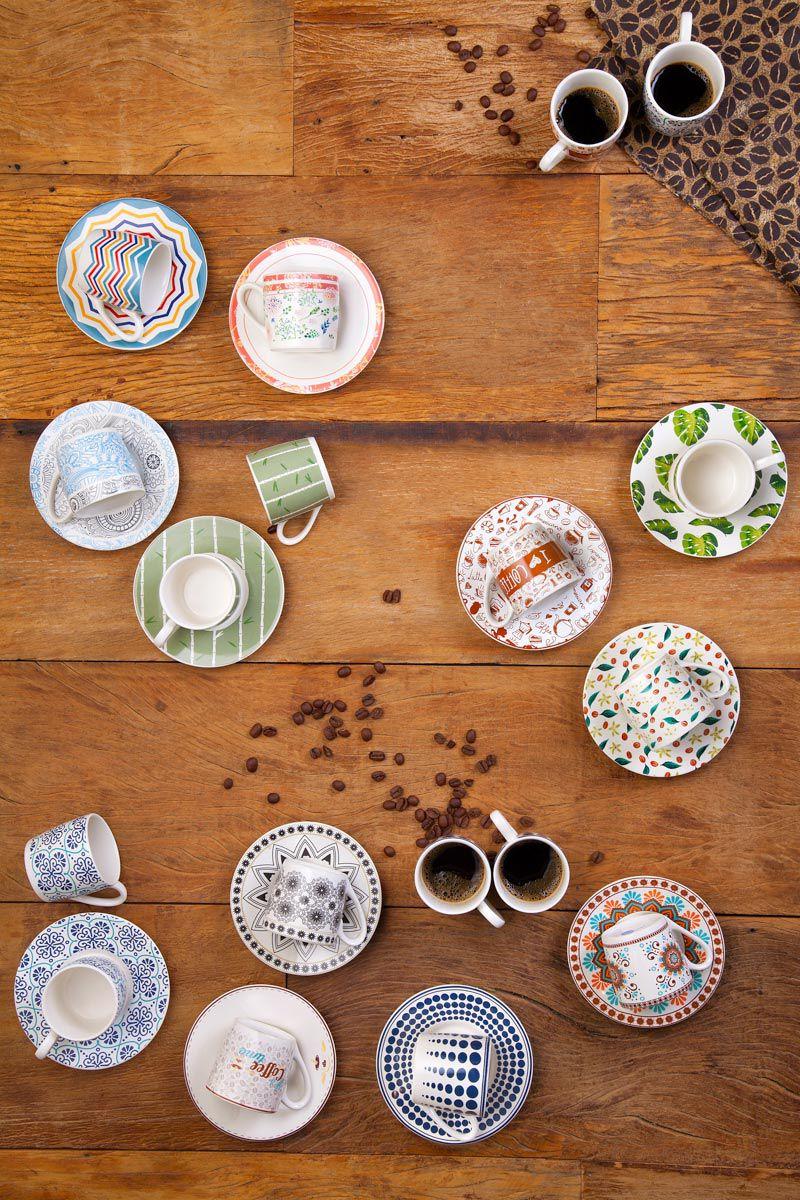 Jogo 6 xícaras 90ml para café de porcelana com pires Leaves & Flowers Bon Gourmet - 17330