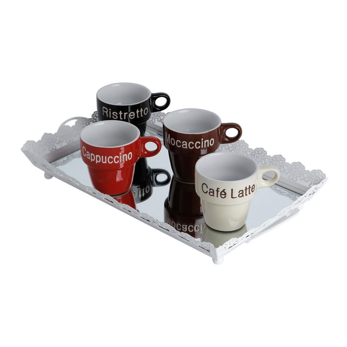 Jogo 4 xícaras 220ml para café de porcelana colorido com suporte Names Bon Gourmet - 30365