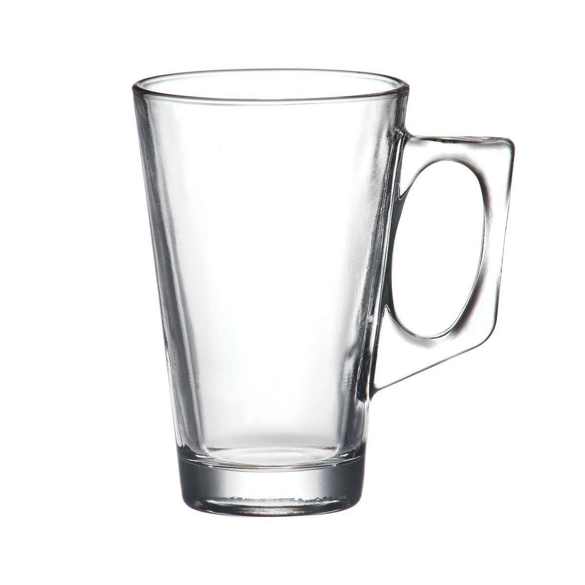 Jogo 6 copos 225ml para café e chá de vidro transparente com alça Experience Lyor - L6543