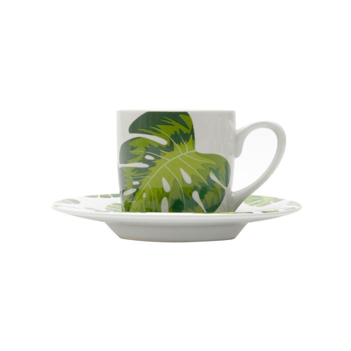 Jogo 6 xícaras 90ml para café de porcelana com pires Folhas Bon Gourmet - 17329
