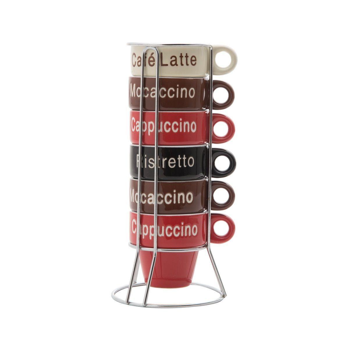 Jogo 6 xícaras 70ml para café de porcelana colorido com suporte Names Bon Gourmet - 30364