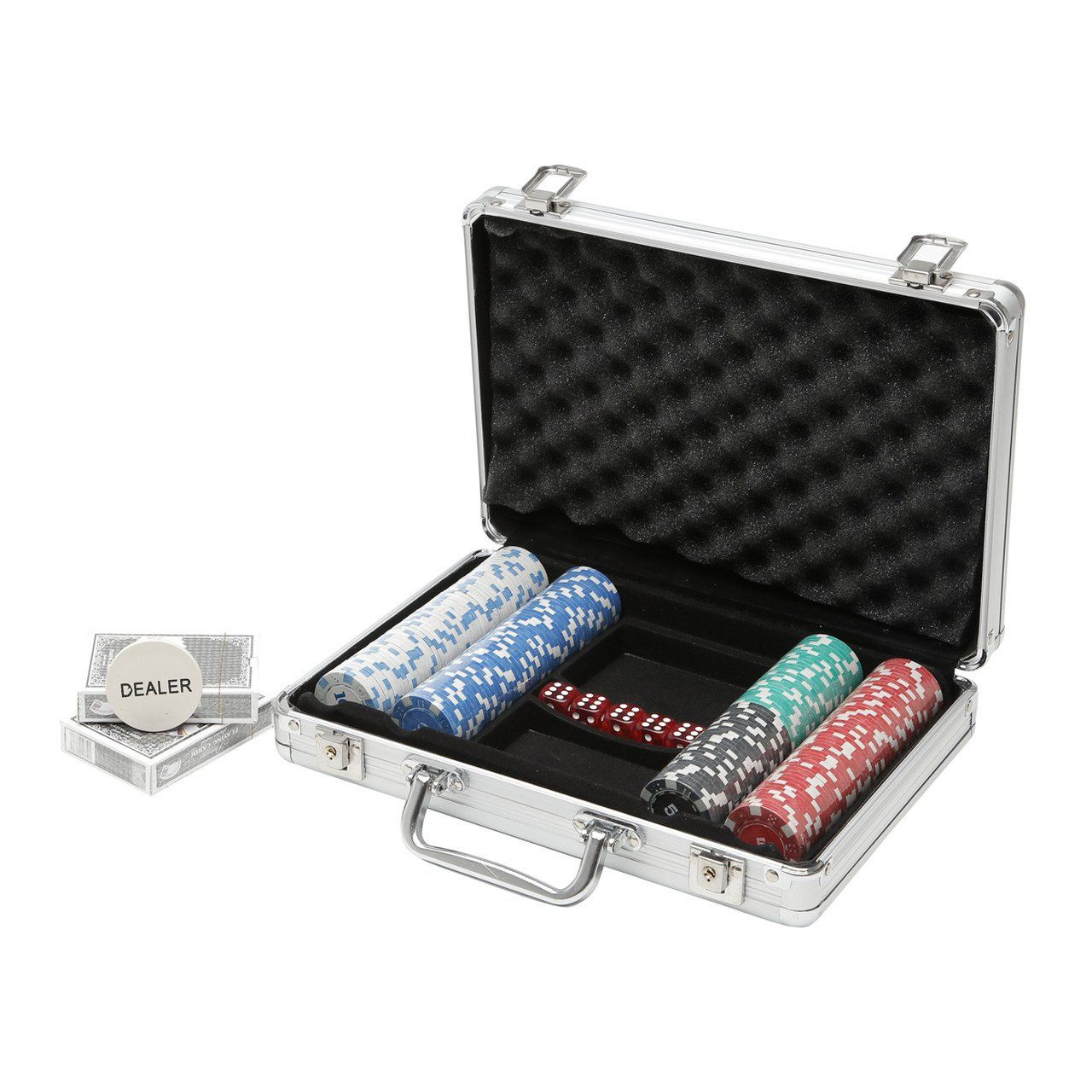 Jogo de Poker 200 fichas profissional com maleta de alumínio Prestige - 3211