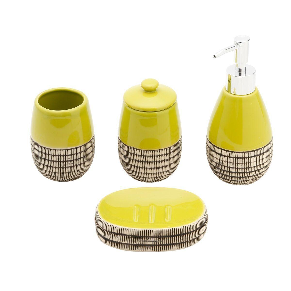 Jogo 4 peças para banheiro de cerâmica verde Kiwi Prestige - 25329