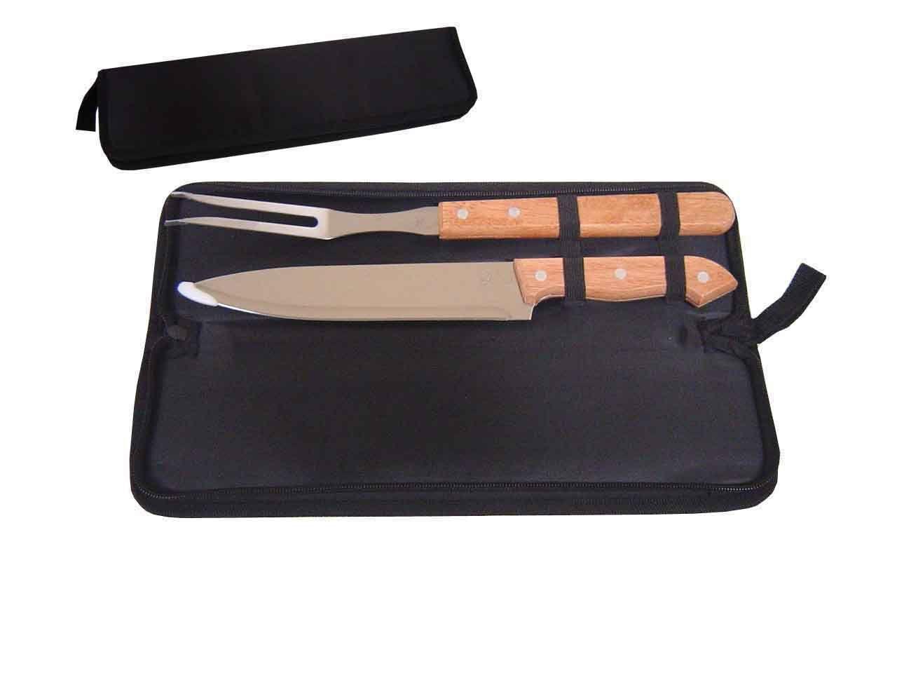 Kit churrasco 2 peças de aço inox e cabo de madeira com estojo de nylon Pontual - P143035
