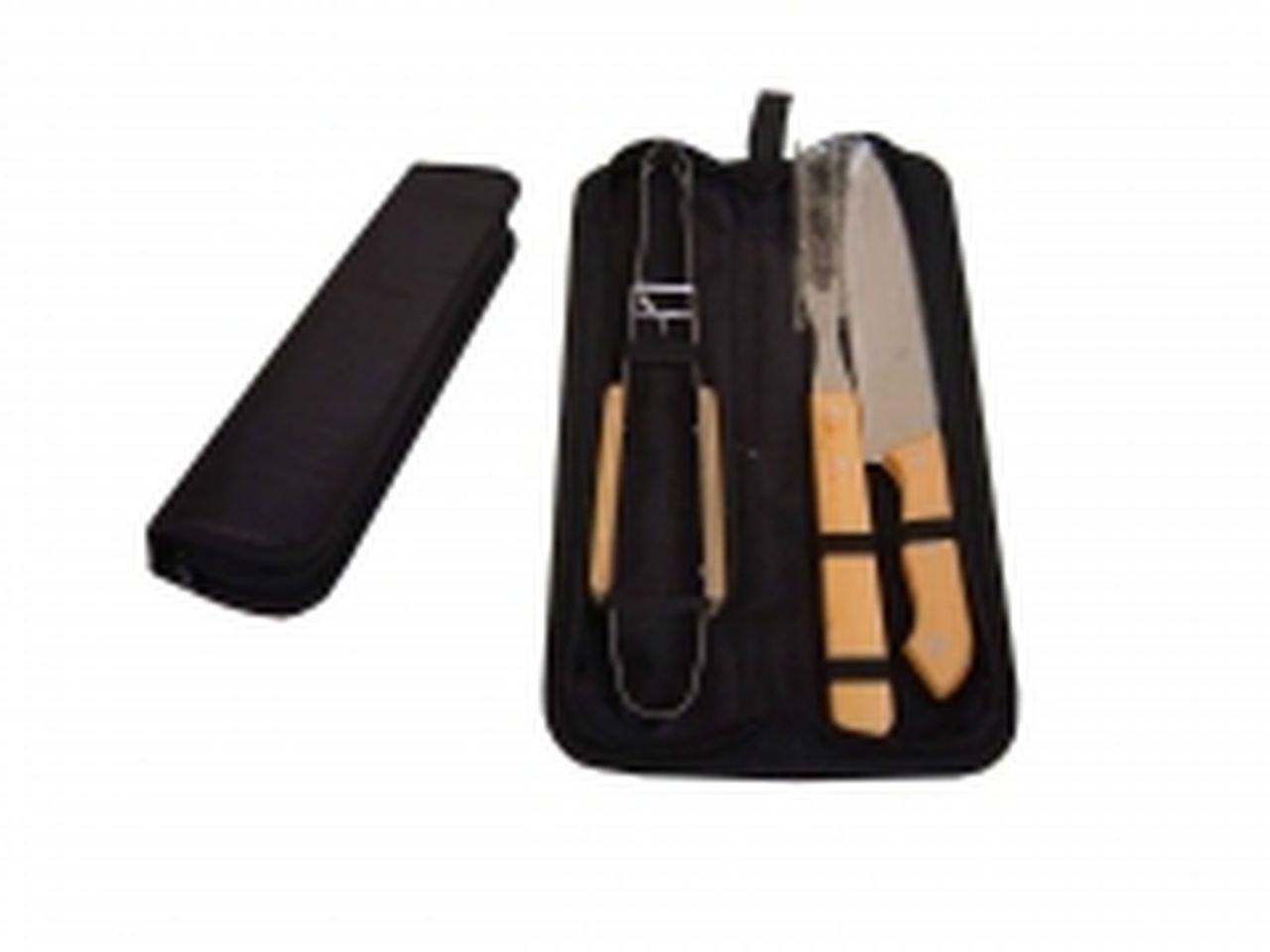 Kit churrasco 3 peças de aço inox e cabo de madeira com estojo de nylon Pontual - P143184