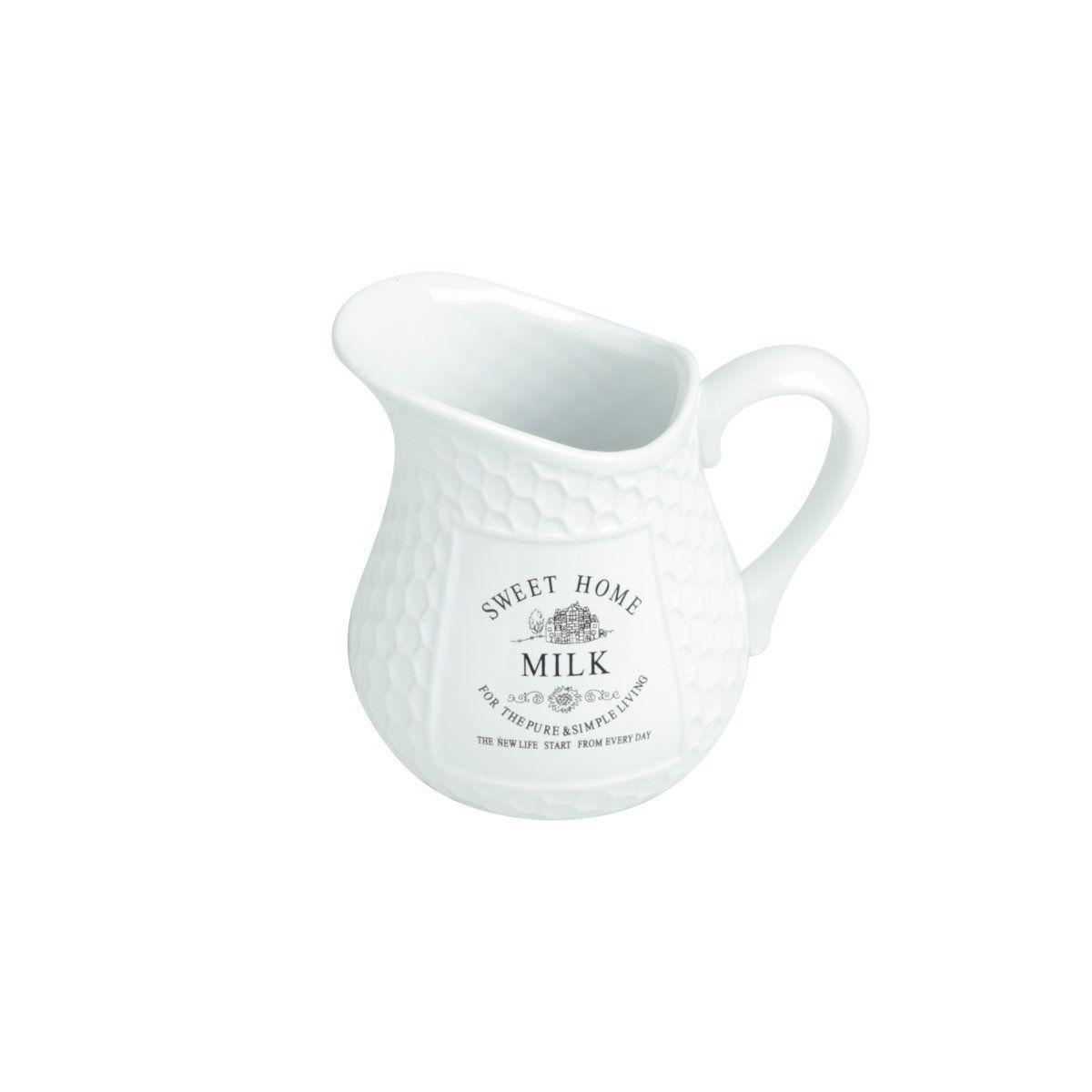 Leiteira 520ml de porcelana branca Sweet Home Bon Gourmet - 27451