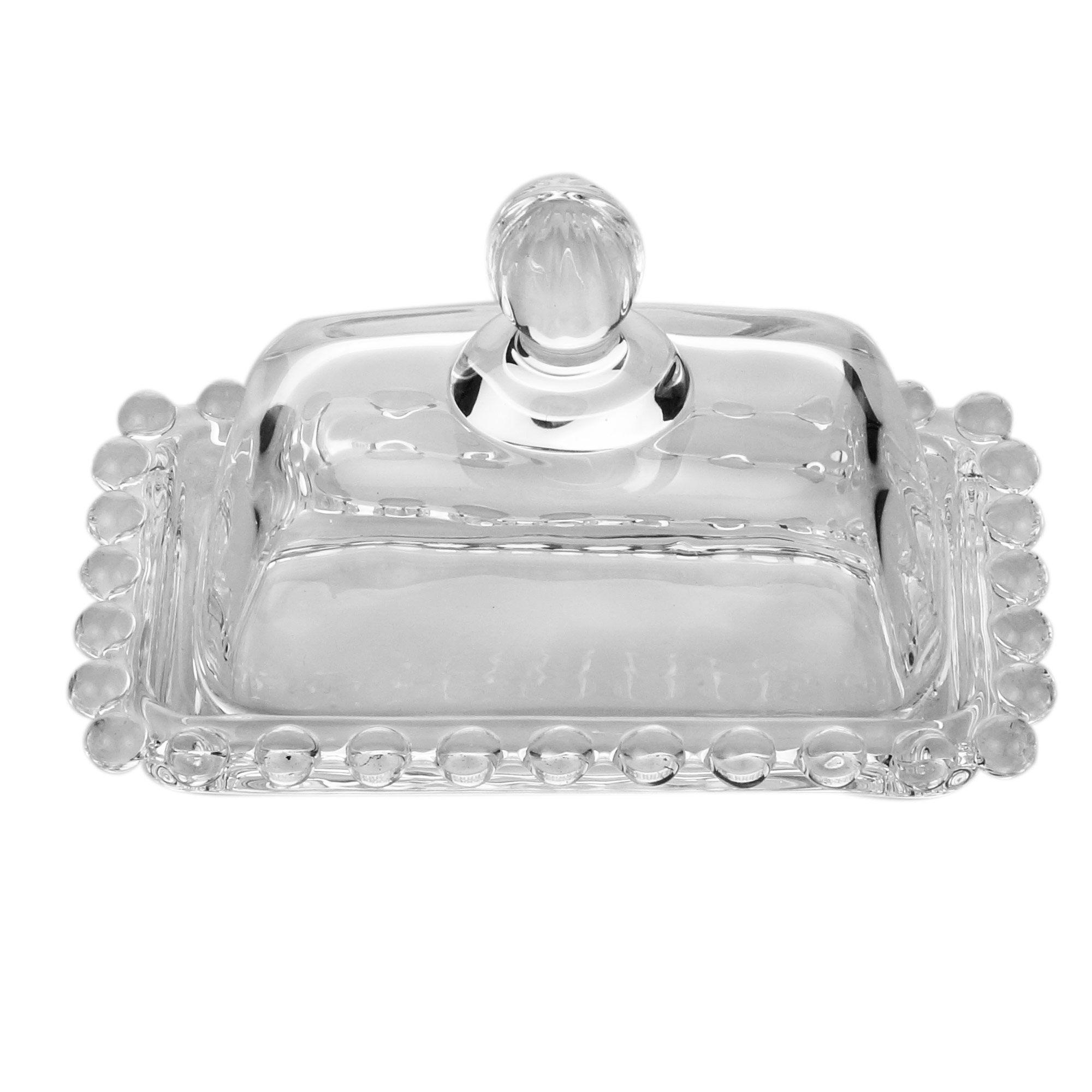 Manteigueira 11 cm de cristal transparente com tampa Pearl Wolff - 27898