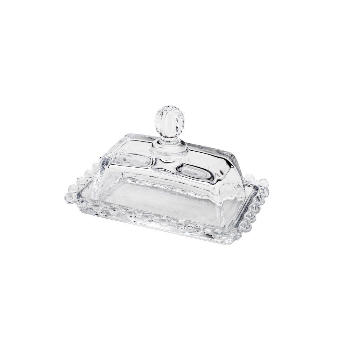 Manteigueira 14 cm de cristal transparente com tampa Dots Wolff - 26755