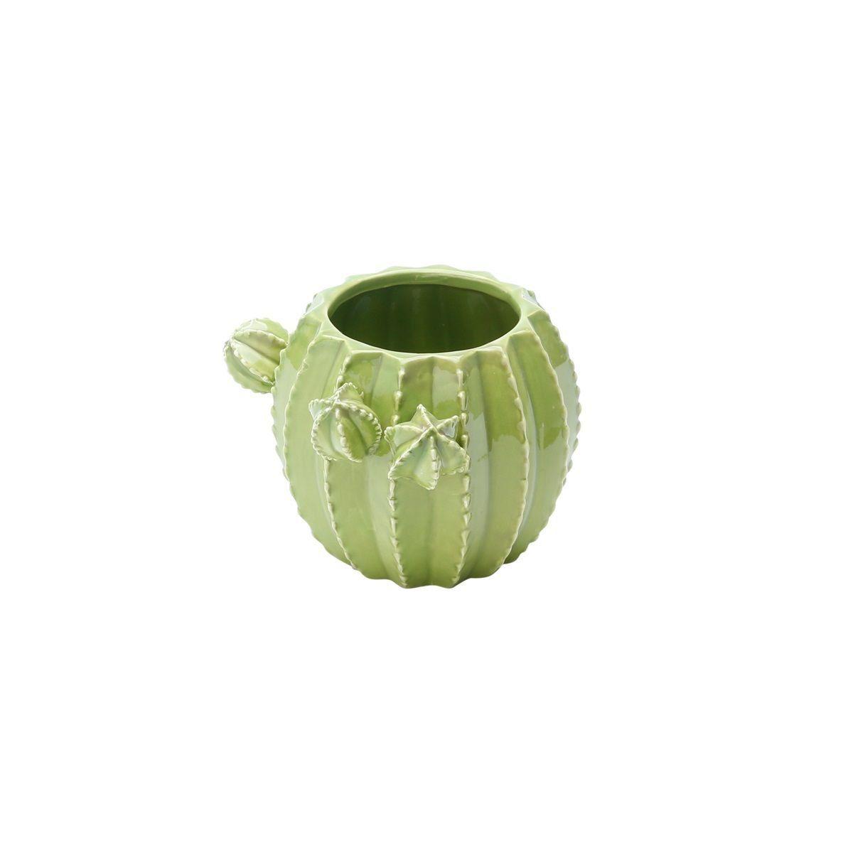 Vaso decorativo 13 cm de cerâmica verde Cactos Prestige - 25666