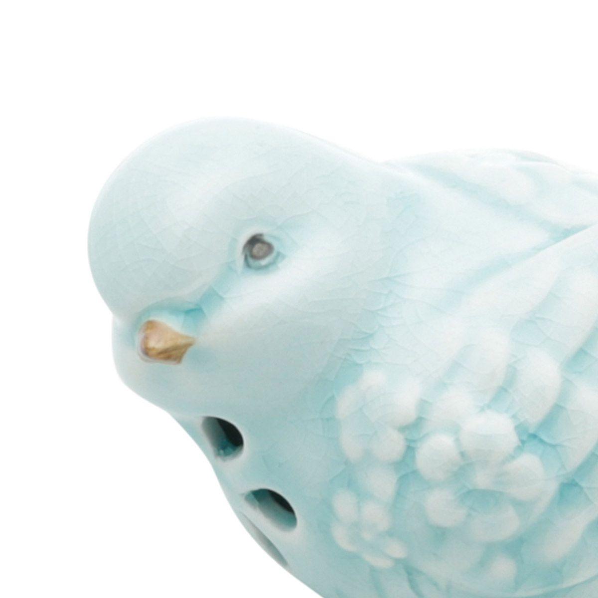 Pássaro decorativo 10 x 6,5 cm de cerâmica azul claro Garden Lyor - L4174