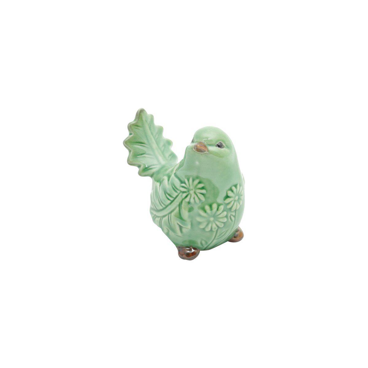 Pássaro decorativo 9,5 x 6,5 cm de cerâmica verde Leaf Lyor - L4176