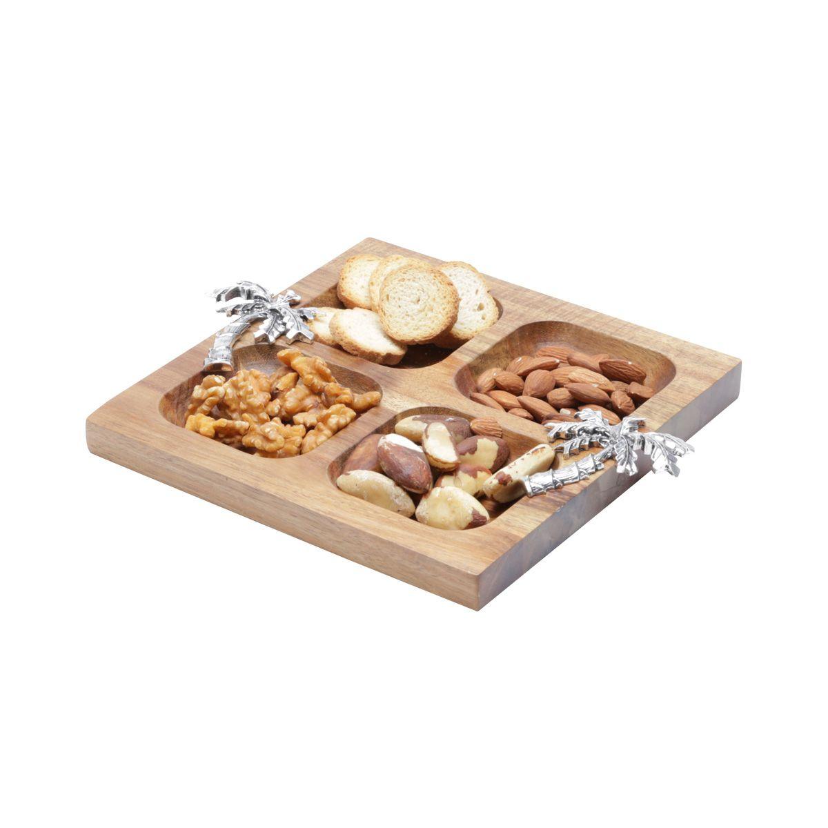 Petisqueira 20,5 cm de madeira e zamac Acácia Palmeira Bon Gourmet - 26006