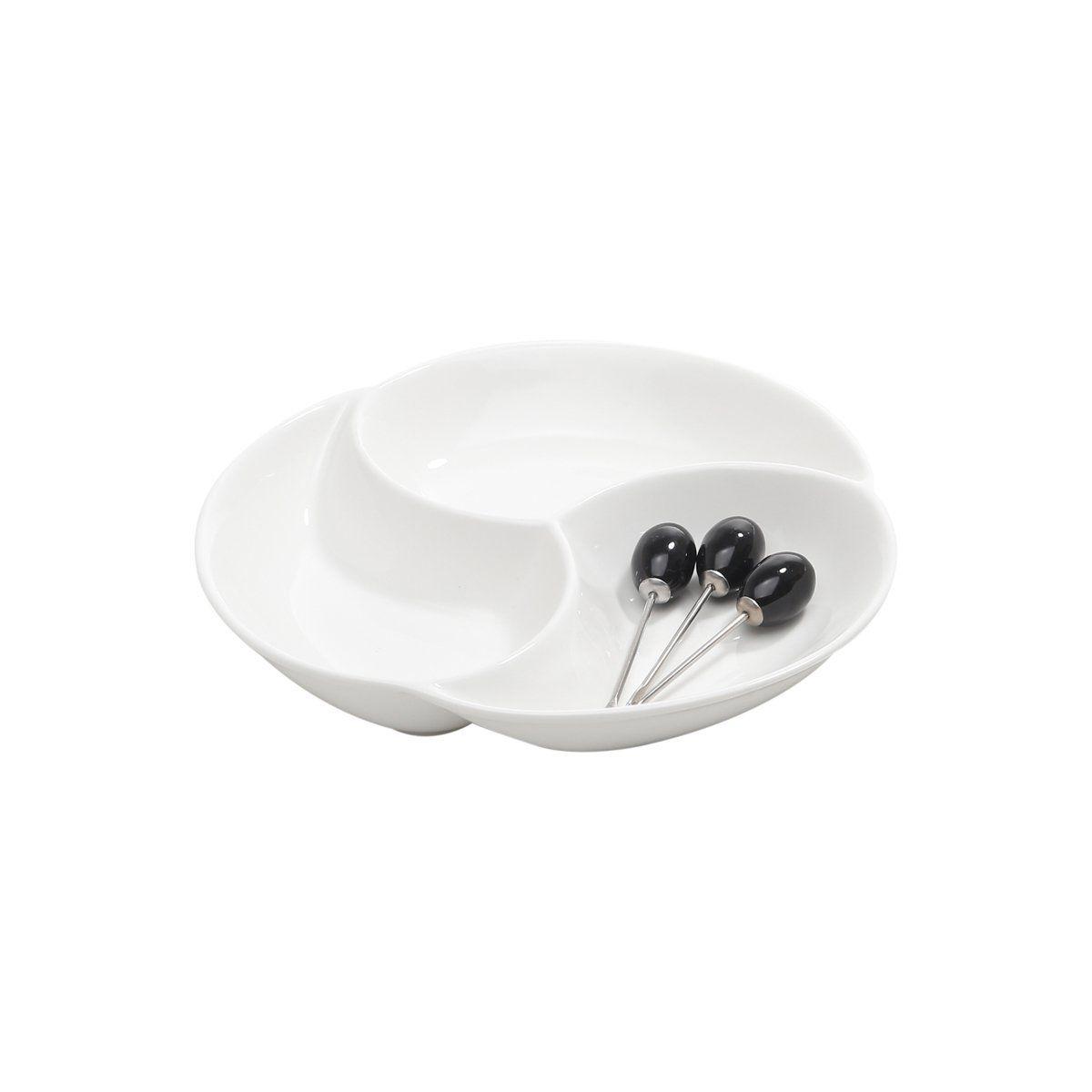 Petisqueira 20 cm de porcelana branca com 3 palitos Wolff - 1177