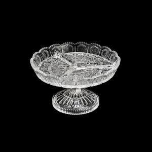 Petisqueira 20 cm de cristal com pé transparente Starry Wolff - 30182