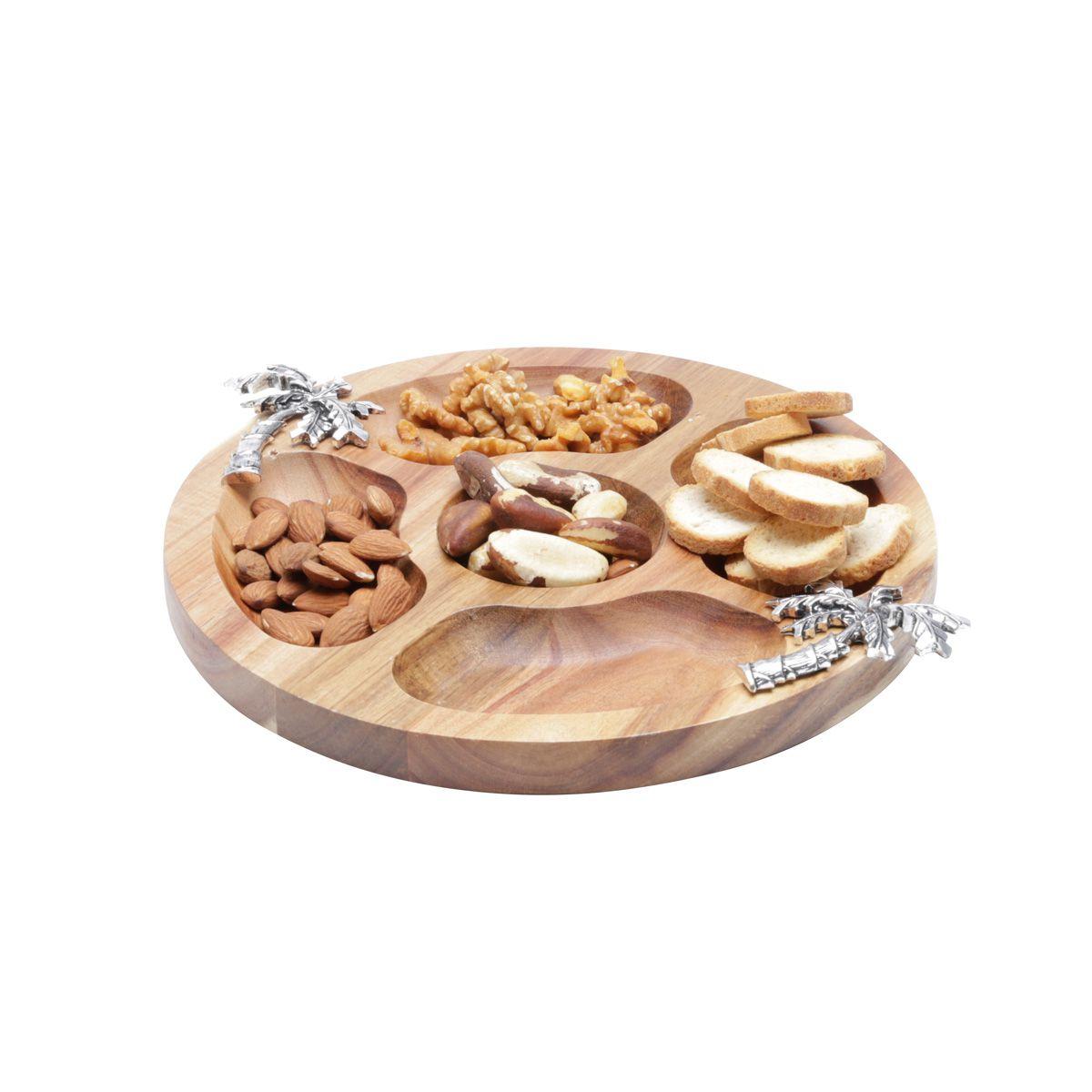 Petisqueira 25 cm redonda de madeira e zamac Acácia Palmeira Bon Gourmet - 26007