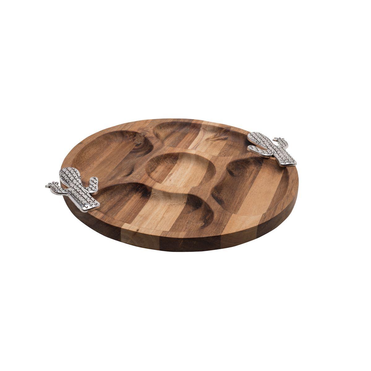 Petisqueira 28 cm redonda de madeira e zamac Acácia Cactus Bon Gourmet - 26357