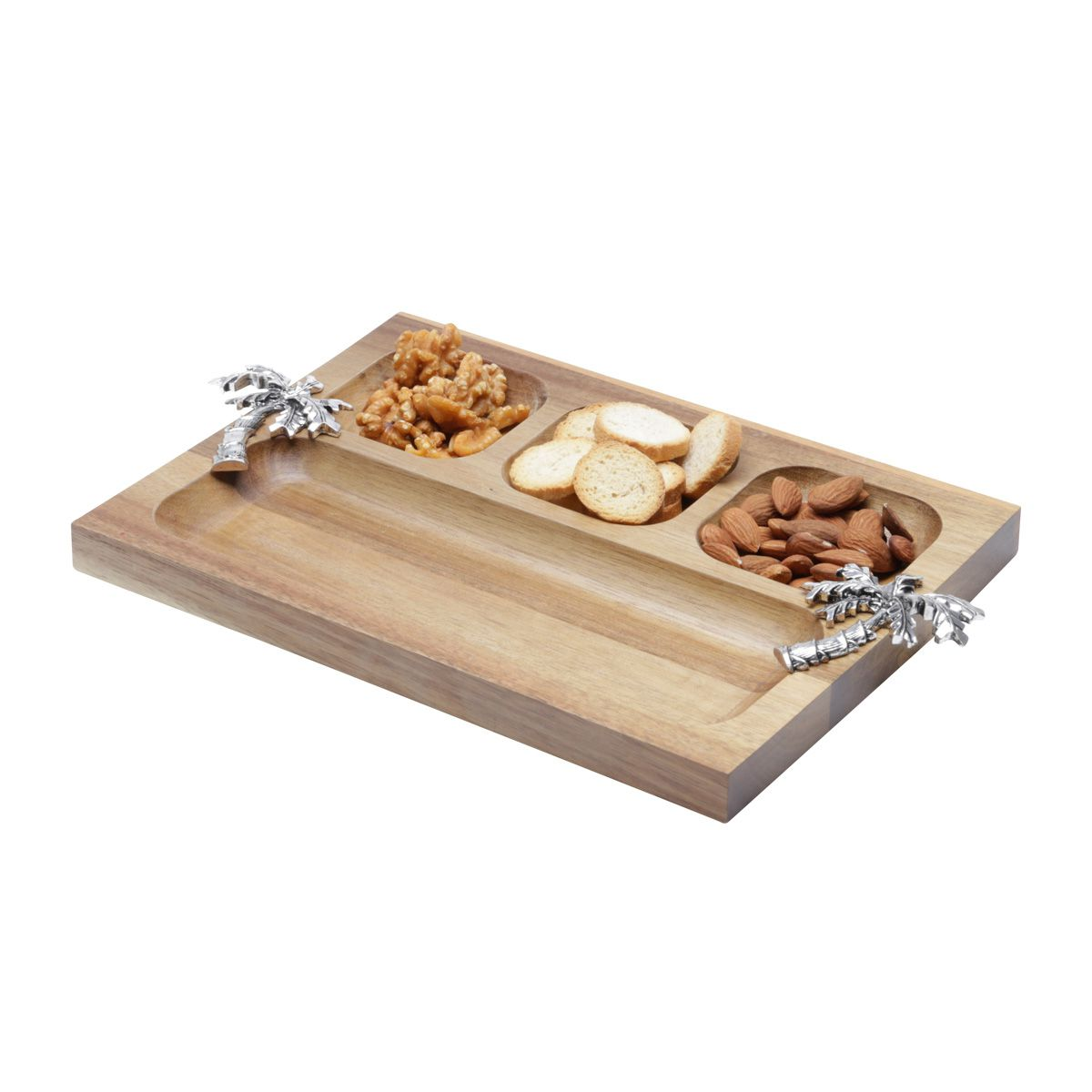 Petisqueira 28 cm de madeira e zamac Acácia Palmeira Bon Gourmet - 26008