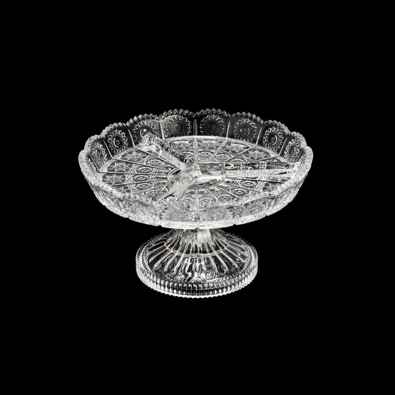Petisqueira 17 cm de cristal transparente com pé Starry Wolff - 30181