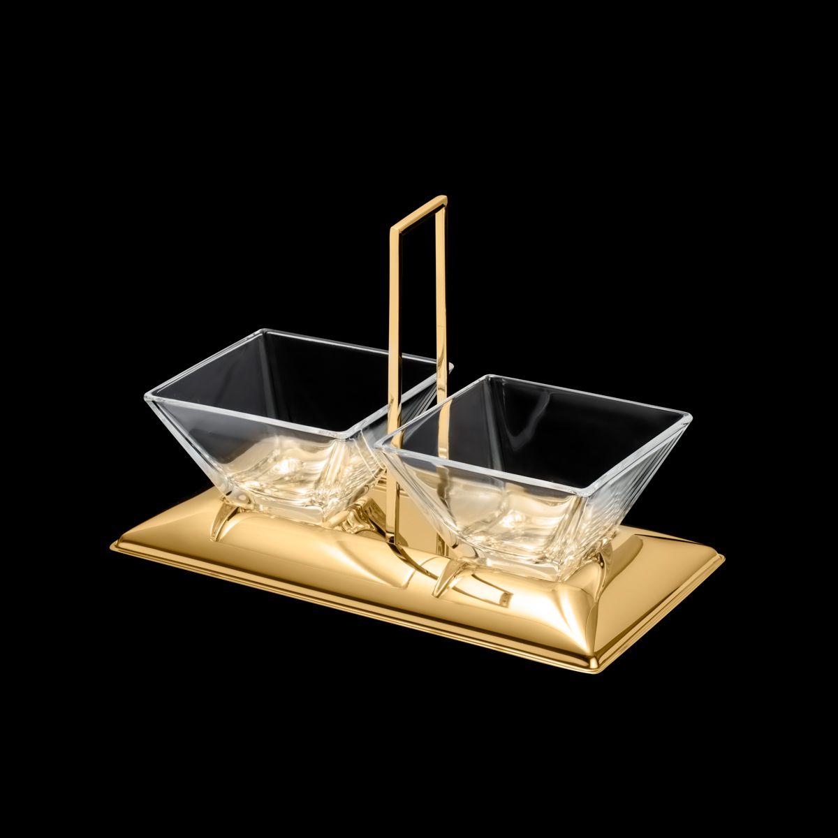 Petisqueira dupla de vidro e suporte com alça de aço inox dourado Torcello Wolff - 87877