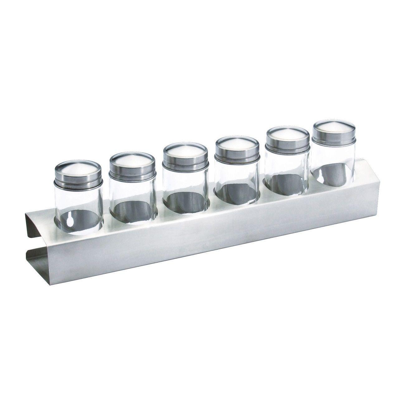 Conjunto 6 peças porta temperos de aço inox e vidro com suporte de parede Bon Gourmet - 2279