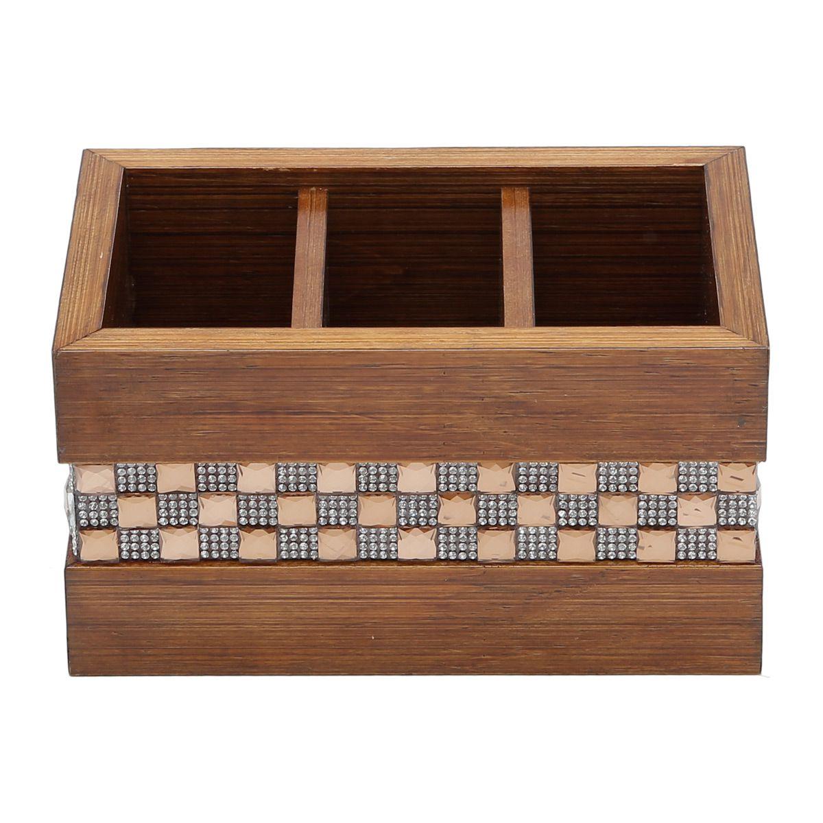 Porta-controle remoto 17,5 x 11 cm de madeira marrom Diamond Woodart - 12615