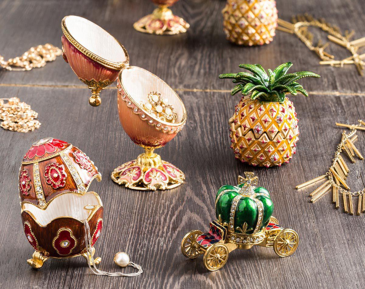 Porta-joias 8 cm de zamac amarelo Carruagem Prestige - 27112