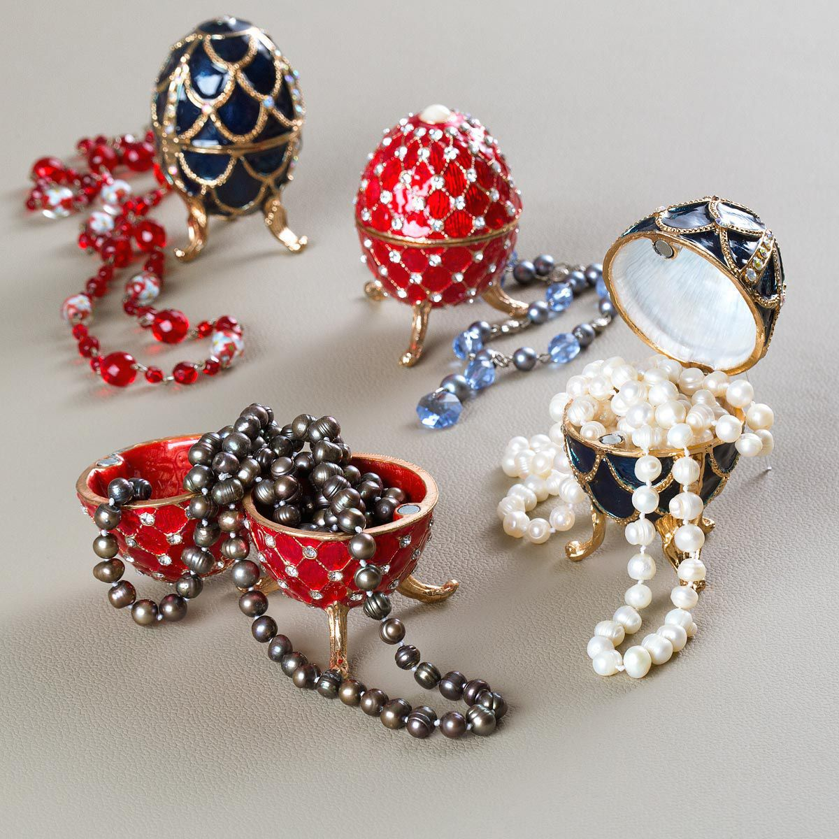 Porta-Joias 9 cm de zamac vermelho Ovo Fabergé Prestige - 27106