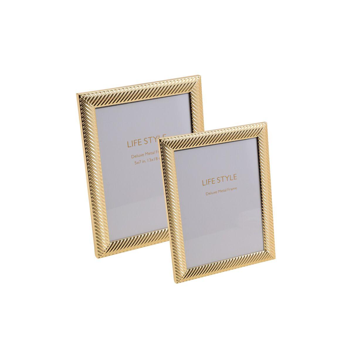 Porta-retrato 15 x 20 cm de aço dourado Thick Line Royal - 30457