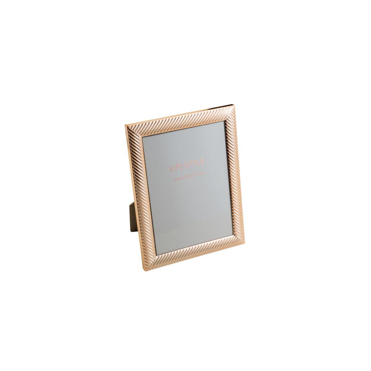 Porta-retrato 15 x 20 cm de aço rosé gold Thick Line Royal - 30459
