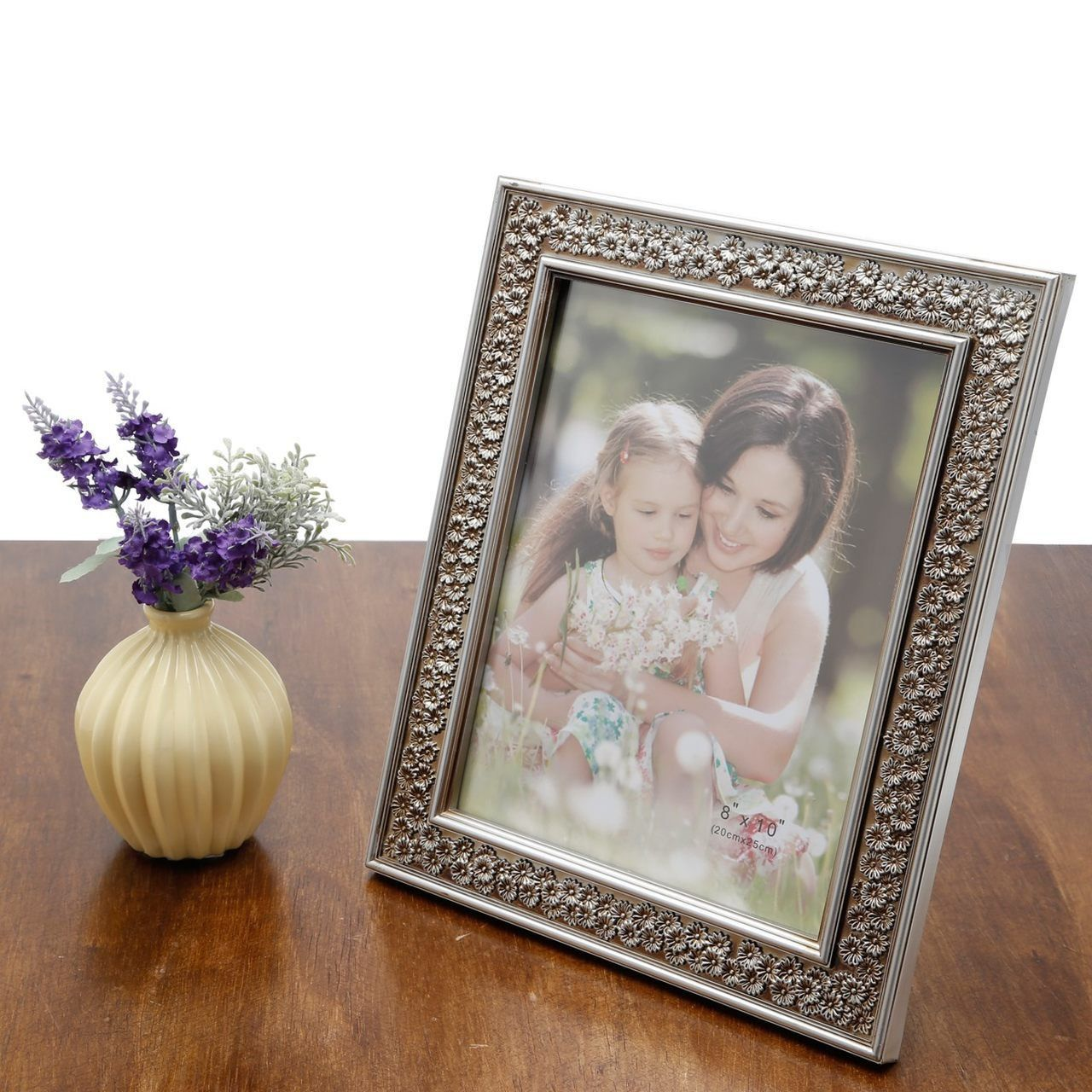 Porta-retrato 13 x 18 cm de plástico prateado Margarida Prestige - 25472