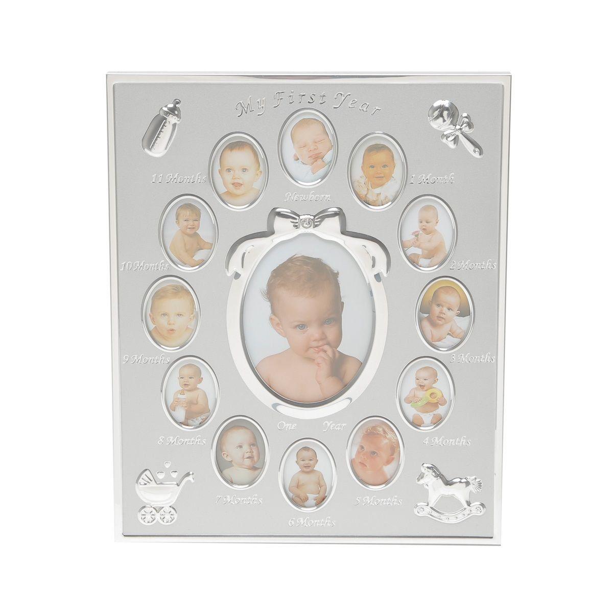 Porta-retrato para 13 fotos de alumínio 1° Ano do Bebê Prestige - 7573
