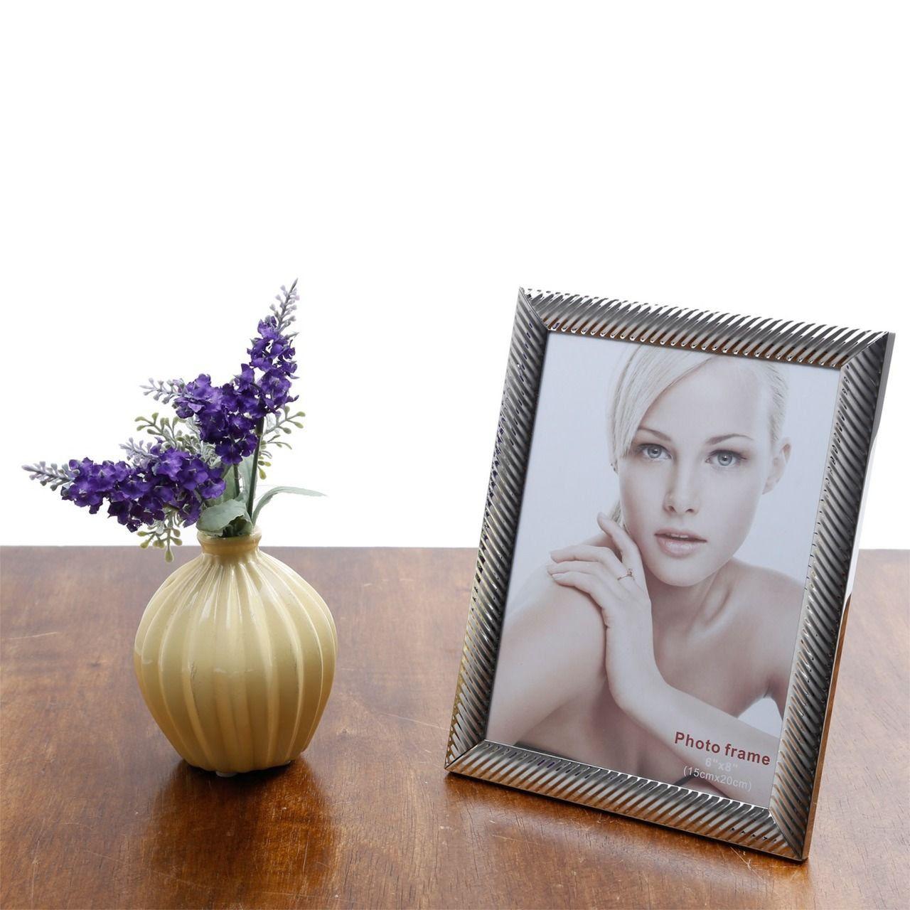 Porta-retrato 13 x 18 cm de aço prateado Lines Prestige - 25511
