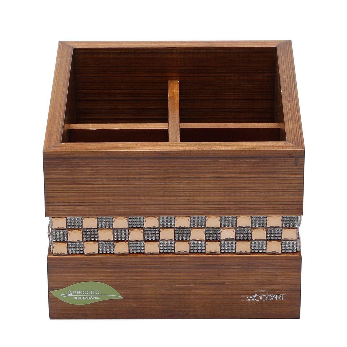 Porta-talheres 17 x 17 cm de madeira marrom Diamond Woodart - 11996