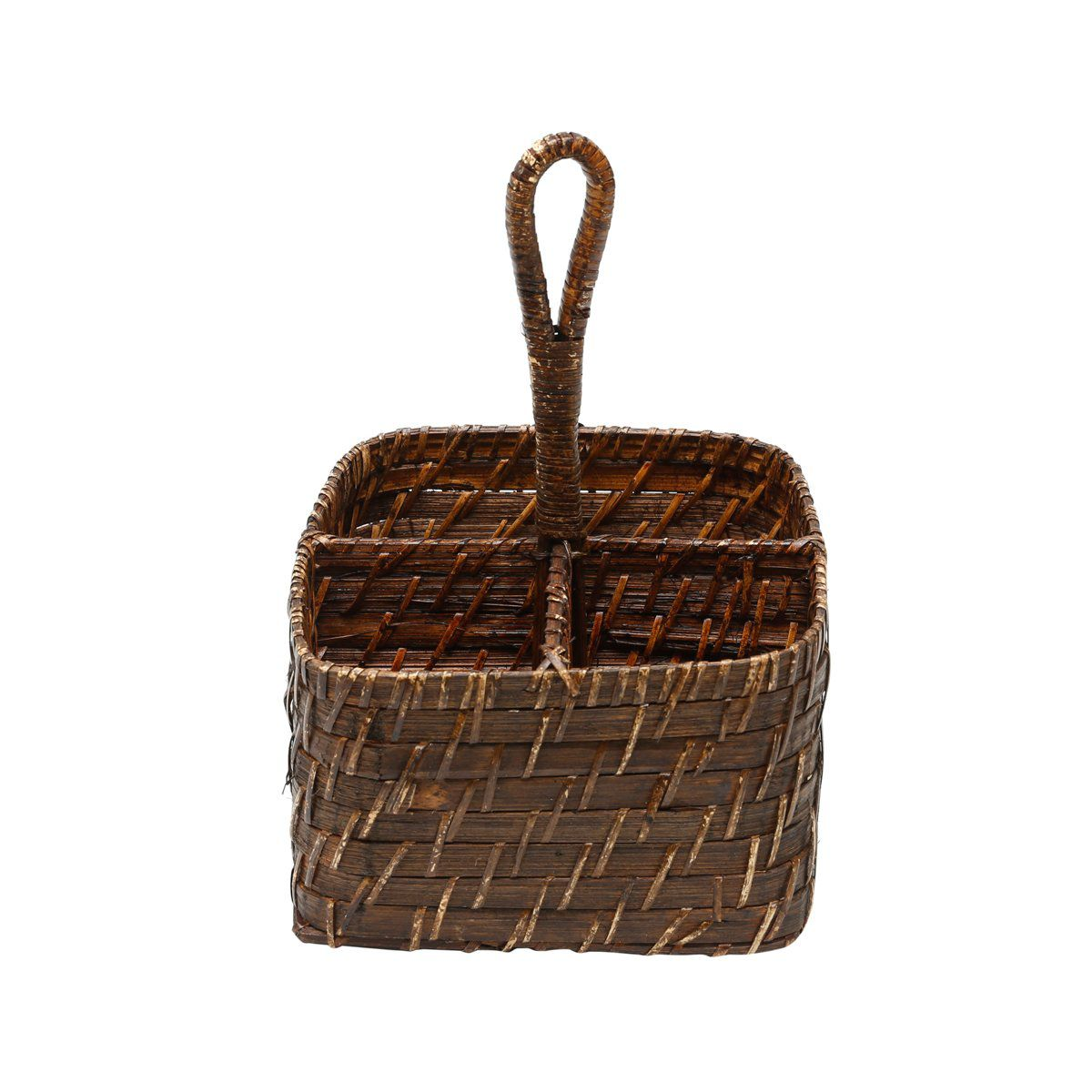 Porta-talheres 19 x 19 cm de rattan com alça Bon Gourmet - 1052