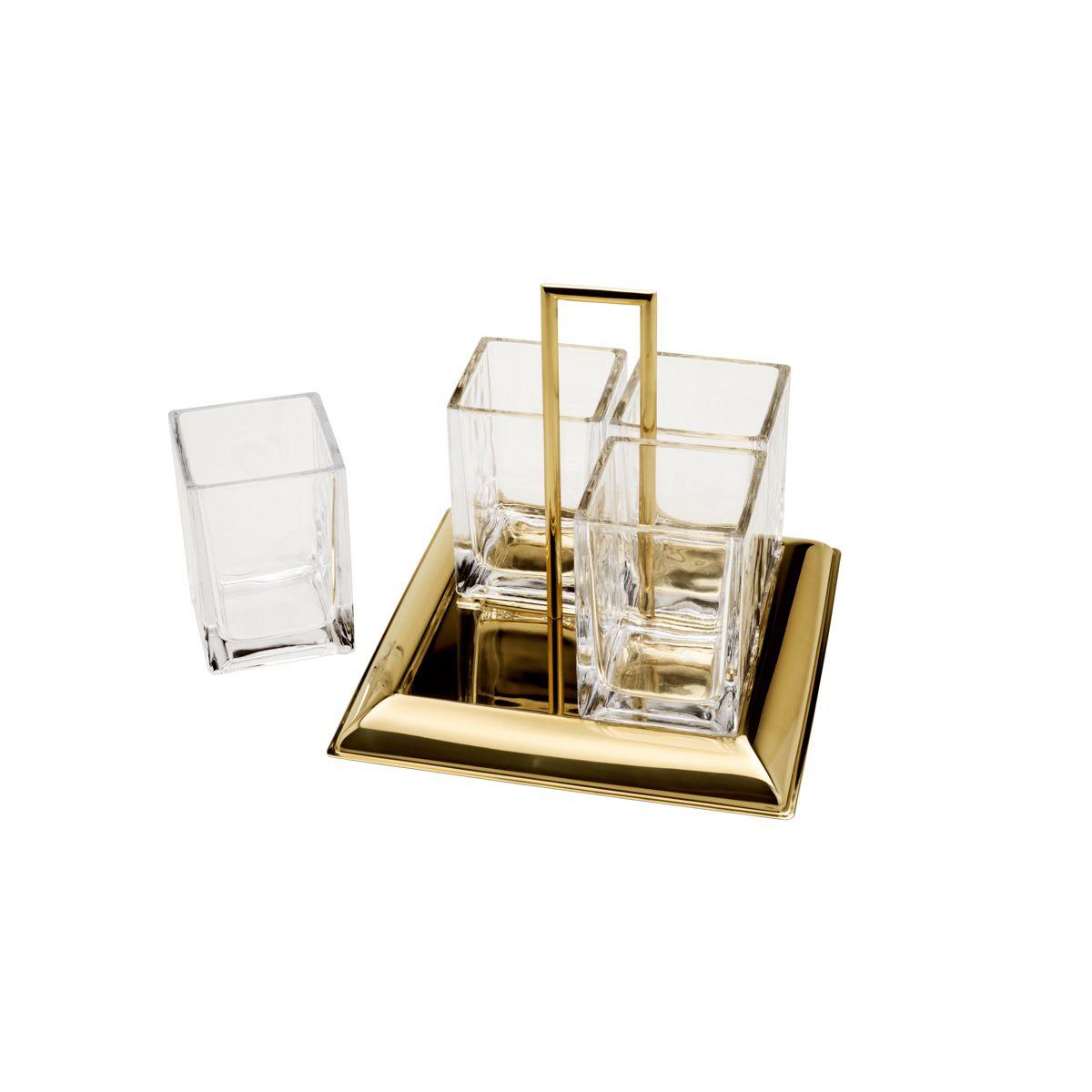 Porta talheres 24 x 22 cm de cristal e aço dourado Torcello Wolff - 87889