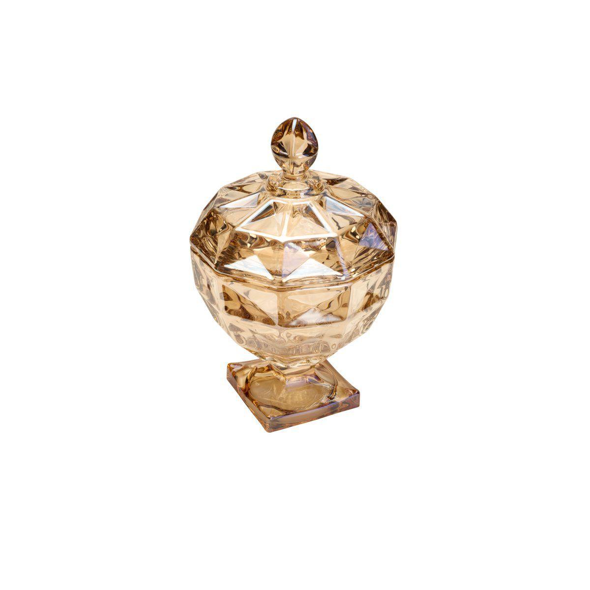 Porta Treco, bomboniere 24 cm de cristal âmbar com pé e tampa Diamant Wolff - 26651