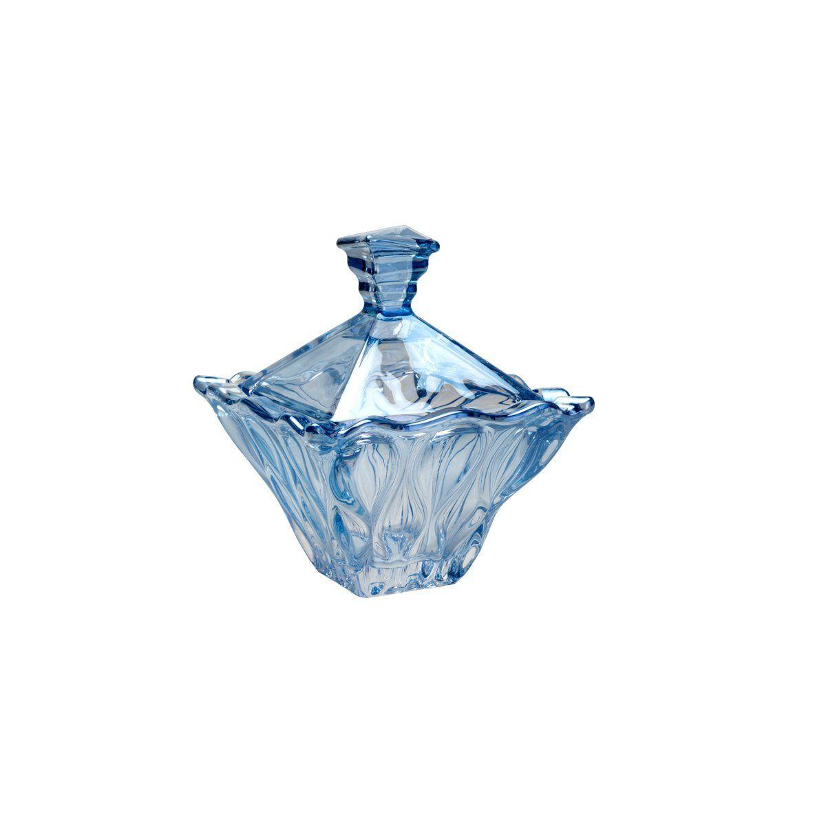 Porta Treco, bomboniere 12,5 cm de cristal azul com tampa Safir Wolff - 26050