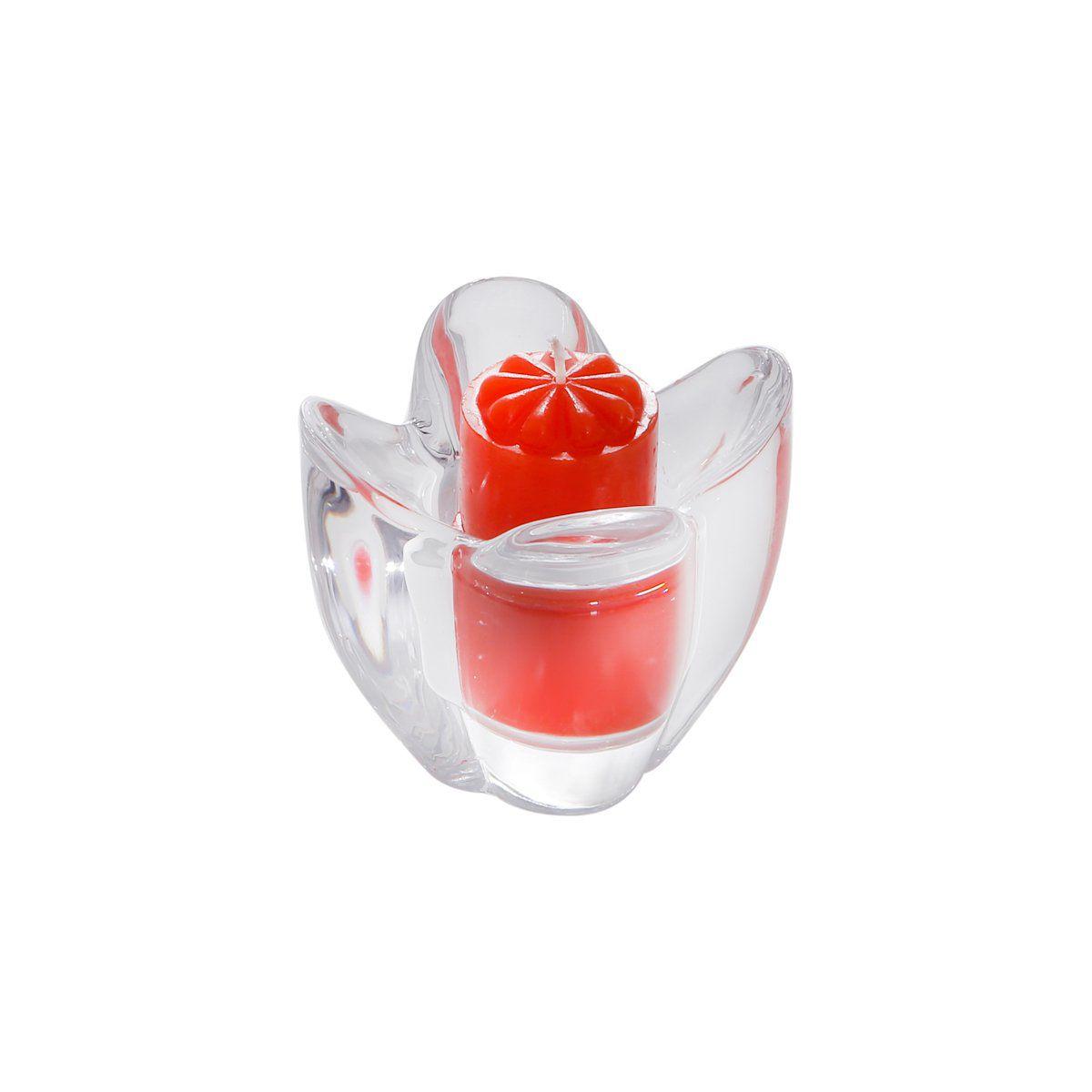 Porta-vela 8 cm de vidro transparente Tulipa Bon Gourmet - 2095