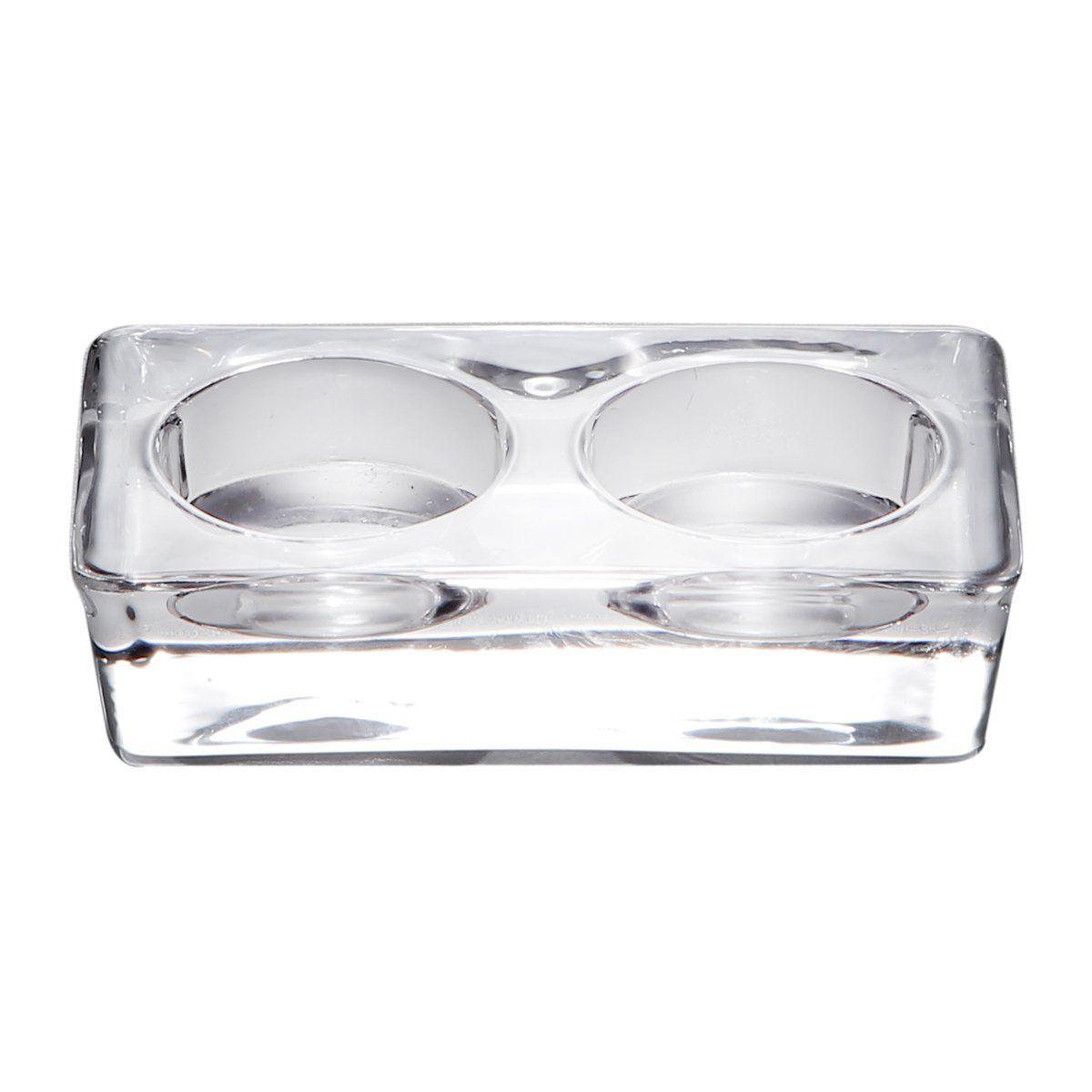 Porta-velas 11 cm para 2 velas de vidro transparente Lara Bon Gourmet – 2346